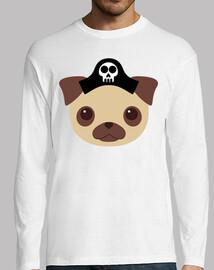 Hombre, manga larga, blanco Diseño Perro Pirata