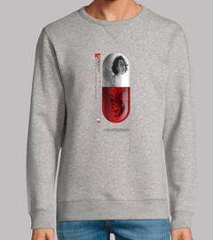 hombre, sweatshirt, grau melange