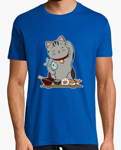 Tee-shirt homme de chat de sushi, manches courtes, bleu royal, qualité extra
