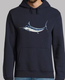 homme jersey marlin bleu, pull à capuche, bleu marine
