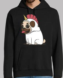 hooded sweatshirt man dog carlino unicorn pug