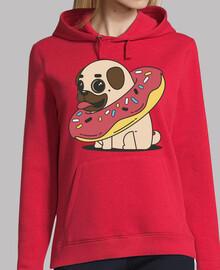 hooded sweatshirt woman dog pug carlino with float donut