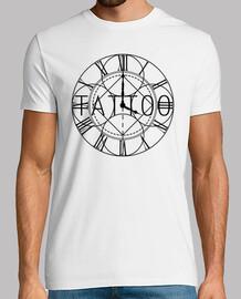 Hora de tatuar, tattoo, tatuaje reloj numeros romanos watch design elegant Hombre, manga corta, blan
