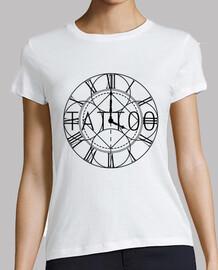 Hora de tatuar, tattoo, tatuaje reloj numeros romanos watch design elegant Mujer, manga corta, blanc