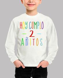 Hoy cumplo 2 años - camiseta de segundo cumpleaños niño o niña
