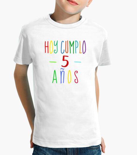 Ropa infantil Hoy cumplo 5 años - camiseta cumpleaños niño o niña