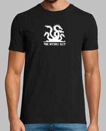 Hydra logo blanco ojos colores. camiseta negra