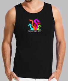Hydra logo colores. camiseta negra