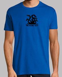 Hydra logo negro ojos colores. camiseta verde.