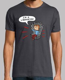 I'm a librarian - Hombre, manga corta, gris ratón, calidad extra