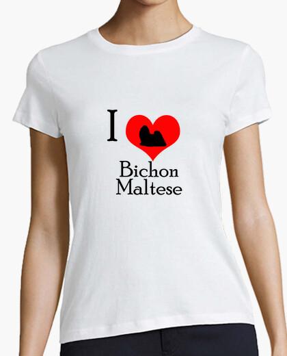 Tee-shirt i aime bichon maltais