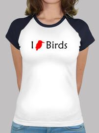 i love gli uccelli (rosso - donna)