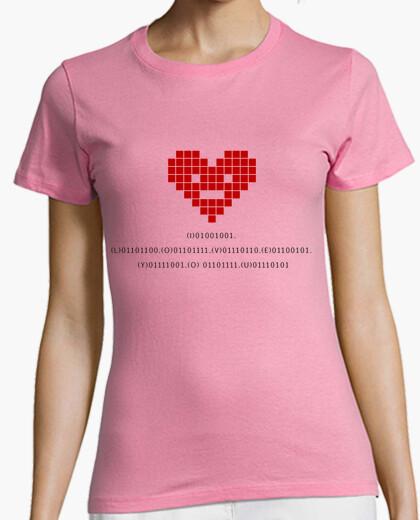 Camiseta I love you (código binario)