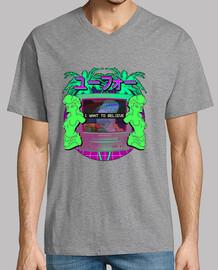 I want to believe in vaporwave - Hombre, manga corta cuello pico largo, morado