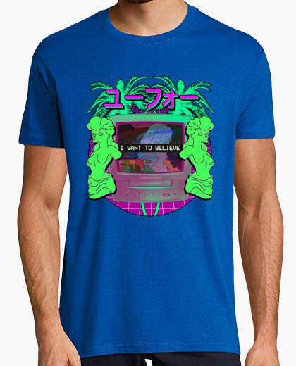 Camiseta I want to believe in vaporwave - Hombre, manga corta, rosa, calidad extra