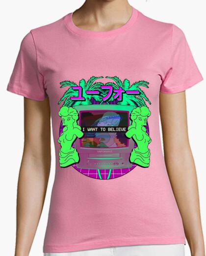 Camiseta I want to believe in vaporwave - Mujer, manga corta, rosa, calidad premium