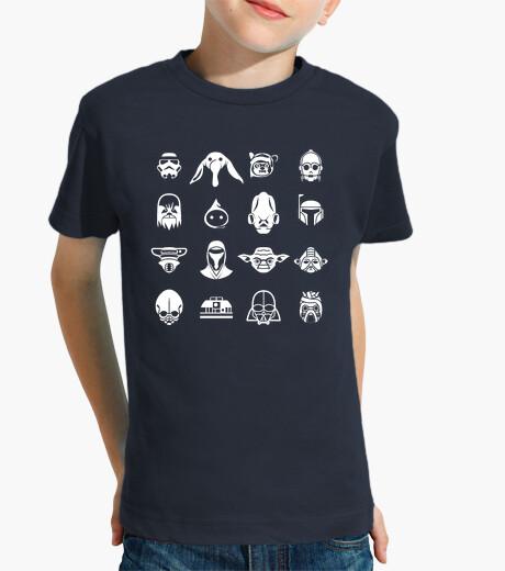 Abbigliamento bambino icone stella wars (sfondo scuro)
