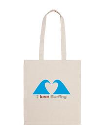 ILoveSurf-Bolsa tela 100% algodón