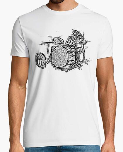 Camiseta Ilustración Batería, Dibujo hecho a mano batería acústica