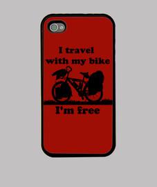 I,m free,I travel with my bike Funda iPhone 4, negra