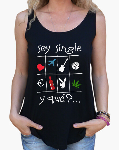 I'm single dark background - girl's shirt with extra long and wide cut straps t-shirt