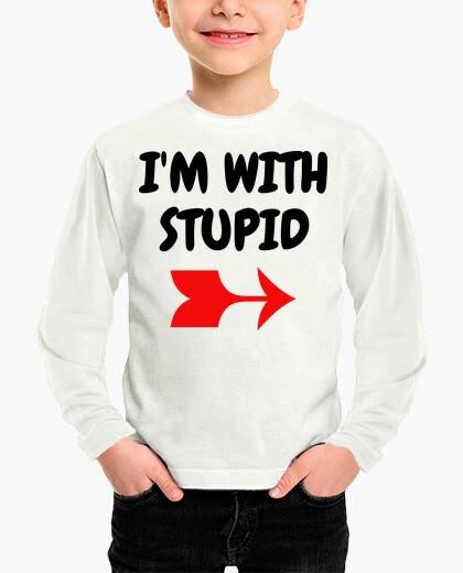 Vêtements enfant I'm with stupid / Humour