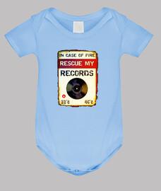 in case of fire // baby bodysuit / blue
