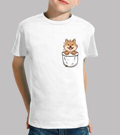 inu del shiba del bolsillo - camisa de los niños