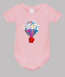 its the future // baby bodysuit / pink