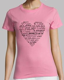 J'adore  tee shirt  rose en plusieurs langues