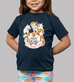 j'aime les chats - t-shirt chibi mignon