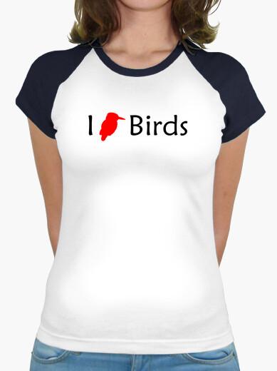 Tee-shirt j'aime les oiseaux (rouge - femme)