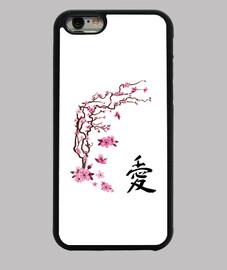 "japanese cherry - calligraphy ""love"""