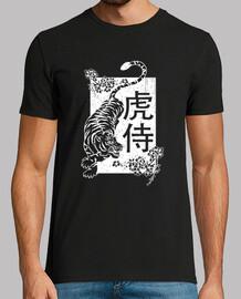 japanese demon great spirit tiger white warrior samurai t shirt
