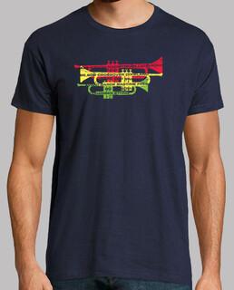 jazz-genres mit trompeten-t-shirt