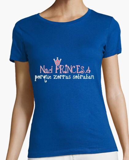 Tee-shirt je suis né princesse parce renards gauche au-dessus
