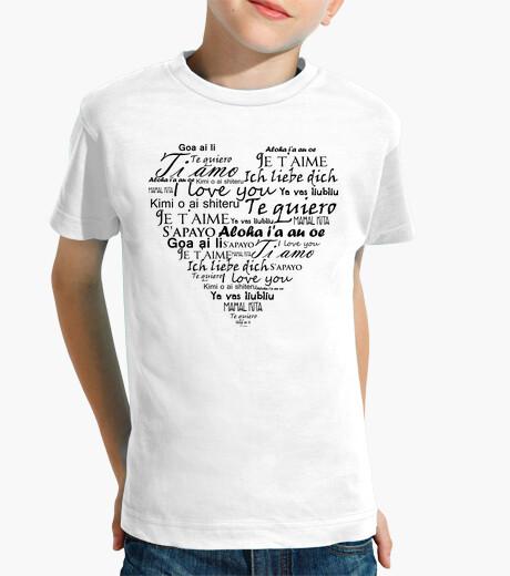 Vêtements enfant je t'aime en plusieurs langues