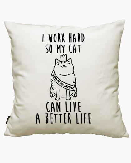 Housse de coussin je travaille pour mon chat
