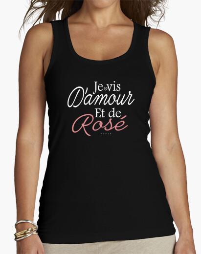 Tee-shirt je vis d'amour et de rosé