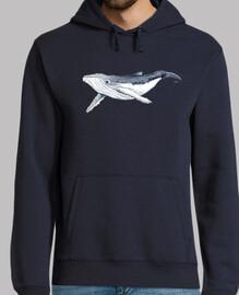 Jersey Bebe ballena yubarta - Hombre, jersey con capucha, azul marino