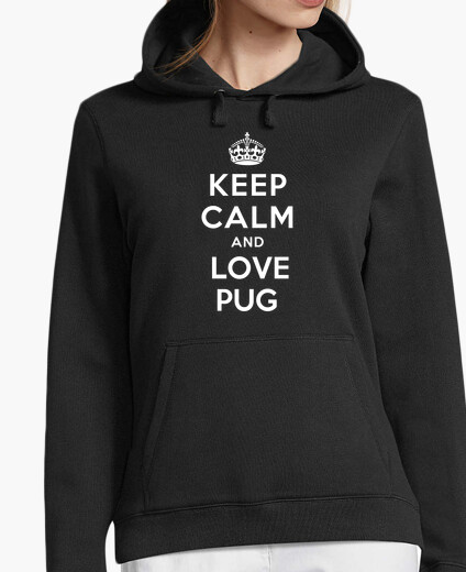 Jersey con capucha keep calm and love pug