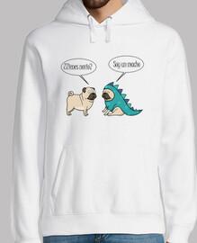 Jersey con capucha pug dinosaurio