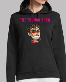 jersey donna con cappuccio. youman il canale logo show