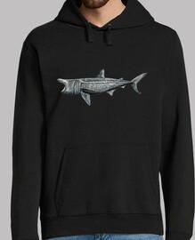 Jersey Tiburón peregrino (Cetorhinus maximus)