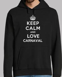 jersey uomo incappucciato keep calm and amore carnevale
