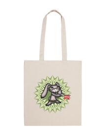 joli lapin folle avec blague pistolet - sac à bandoulière 100% coton