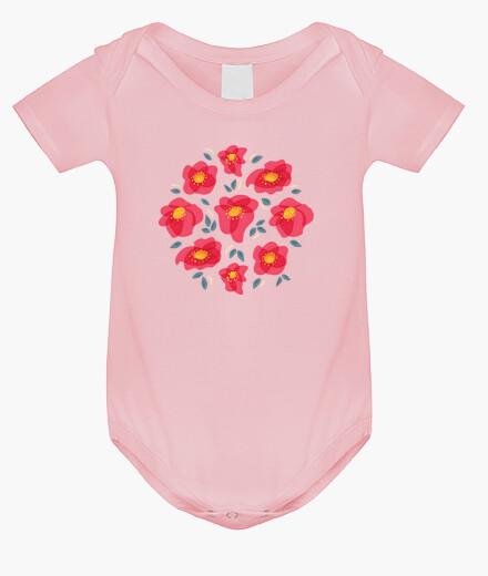 Vêtements enfant jolies fleurs aux pétales rose vif