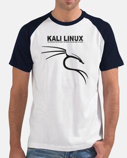 Kali Linux Logo negro. camiseta mangas negra chico.