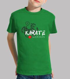 karate shotokan tigre kanji Niño, manga corta, verde