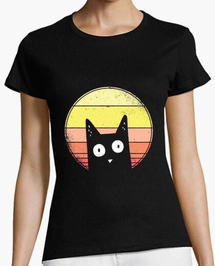 T-Shirt Katzenhemd bei Sonnenuntergang